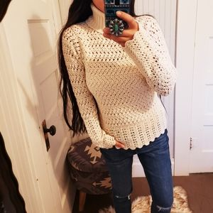 Wool Chunky Knit Turtleneck Sweater Cream Scallop